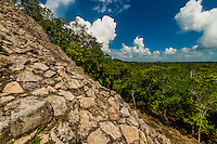 Nohoch Muul Temple, the tallest pyramid at the Coba archaeological site of Pre-Colombian Maya civilization, in the jungle near Riviera Maya, Mexico.