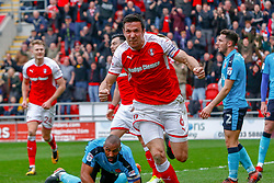 Richard Wood of Rotherham United celebrates his goal against Fleetwood Town - Mandatory by-line: Ryan Crockett/JMP - 07/04/2018 - FOOTBALL - Aesseal New York Stadium - Rotherham, England - Rotherham United v Fleetwood Town - Sky Bet League One
