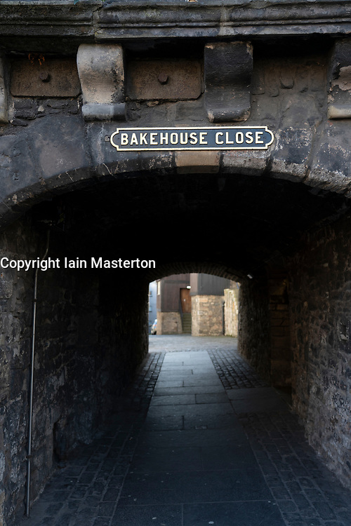 Entrance to  Bakehouse Close on Royal Mile in Edinburgh, Scotland UK. Location of Outlander as fictional Carfax Close. Scotland ,UK