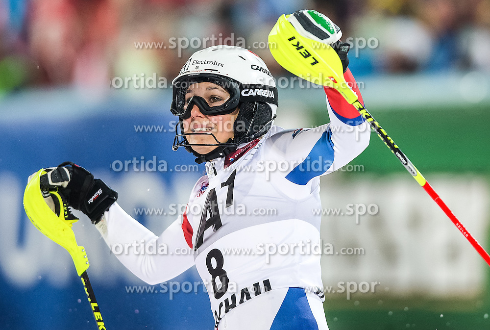 14.01.2014, Hermann Maier Weltcupstrecke, Flachau, AUT, FIS Weltcup Ski Alpin, Slalom, Damen, 2. Durchgang, im Bild Wendy Holdener (SUI) // Wendy Holdener of Switzerland reacts in the finish area after her 2nd run of the ladies Slalom of the FIS Ski Alpine World Cup at the Hermann Maier World Cup course in Flachau, Austria on 2014/01/14. EXPA Pictures © 2013, PhotoCredit: EXPA/ Johann Groder