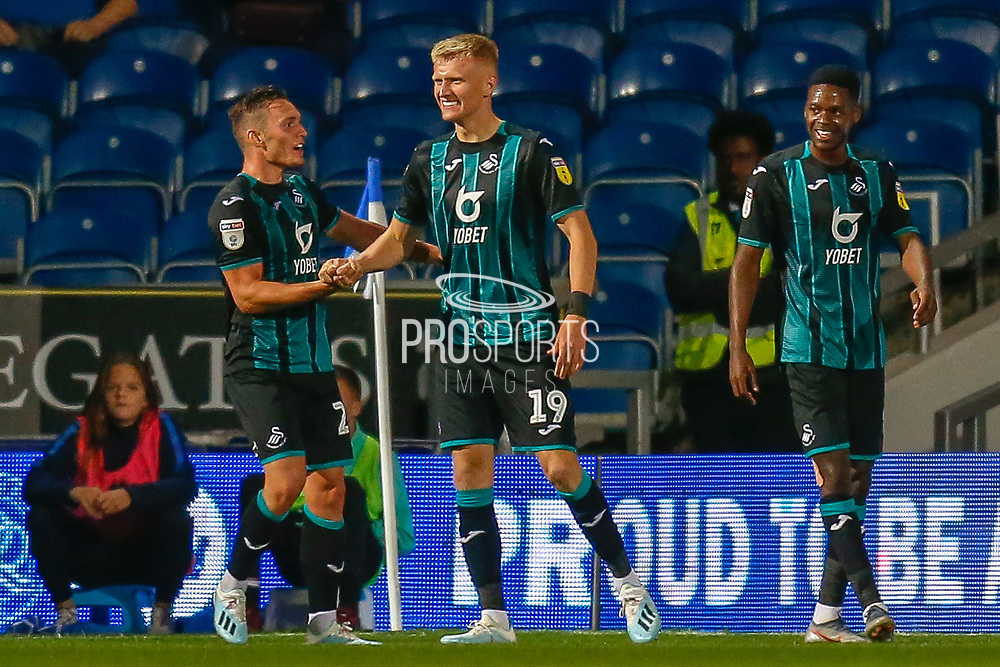 GOAL 1-3 Swansea City forward Sam Surridge (19) scores and celebrates during the EFL Sky Bet Championship match between Queens Park Rangers and Swansea City at the Kiyan Prince Foundation Stadium, London, England on 21 August 2019.
