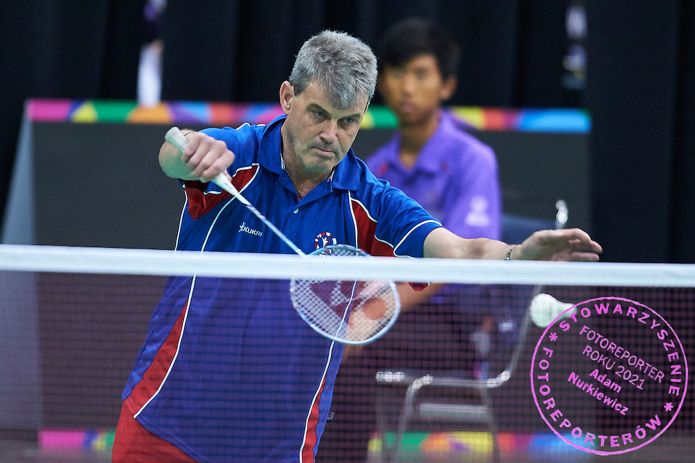 SO Great Britain athlete Kevin Trebilcock in action against SO Bangladesh at badminton competition during seventh day of the Special Olympics World Games Los Angeles 2015 on July 31, 2015 at South Hall of Convention Centre  in Los Angeles, USA.<br /> <br /> USA, Los Angeles, July 31, 2015<br /> <br /> Picture also available in RAW (NEF) or TIFF format on special request.<br /> <br /> For editorial use only. Any commercial or promotional use requires permission.<br /> <br /> Adam Nurkiewicz declares that he has no rights to the image of people at the photographs of his authorship.<br /> <br /> Mandatory credit:<br /> Photo by © Adam Nurkiewicz / Mediasport