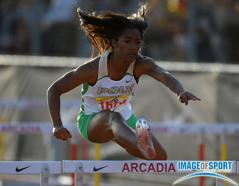 Apr 7, 2012; Arcadia, CA, USA; Traci Hicks of Long Beach Poly wins the girls 100m hurdles in 13.62 in the Arcadia Invitational at Arcadia High.