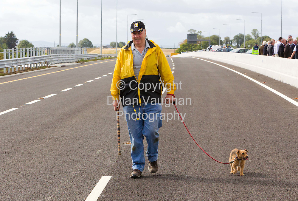 8/9/2010.Noel Hoyne and his dog rusty pictured at the official opening of the M9 motorway from Carlow to Knocktopher yesterday ..Picture Dylan Vaughan..