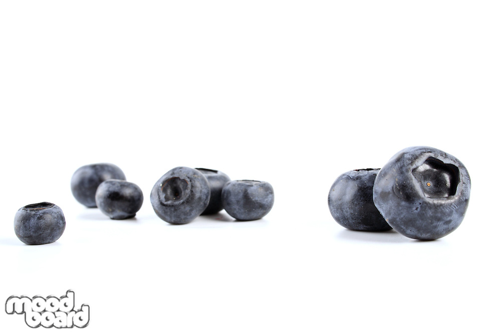 Blueberries on white background - close-up