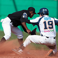 18 April 2010: Romain Martinez Scott slides safely into second base during game 1/week 2 of the French Elite season won 8-1 by Savigny (Lions) over Senart (Templiers), at Parc municipal des sports Jean Moulin in Savigny-sur-Orge, France.