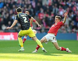 Bristol City's Joe Bryan tackles Walsall's Ben Purkiss  - Photo mandatory by-line: Joe Meredith/JMP - Mobile: 07966 386802 - 22/03/2015 - SPORT - Football - London - Wembley Stadium - Bristol City v Walsall - Johnstone Paint Trophy Final