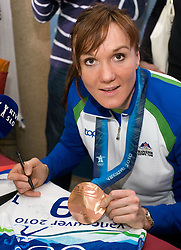 Slovenian bronze medalist cross-country skier Petra Majdic at arrival to Airport Joze Pucnik from Vancouver after Winter Olympic games 2010, on March 1, 2010 in Brnik, Slovenia. (Photo by Vid Ponikvar / Sportida)