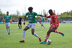 RHOSYMEDRE, WALES - Sunday, May 5, 2019: Connah's Quay Nomads's Michael Bakare (R) and The New Saints' Kane Lewis during the FAW JD Welsh Cup Final between Connah's Quay Nomads FC and The New Saints FC at The Rock. (Pic by David Rawcliffe/Propaganda)