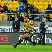 Julian Savea runs with the ball  during the Super rugby (Round 12) match played between Hurricanes  v Lions, at Westpac Stadium, Wellington, New Zealand, on 5 May 2018.  Hurricanes won 28-19.