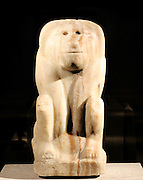 Seated figure of a baboon with the cartouche of king Narmer 3000 years BC. calcite-Alabaster.