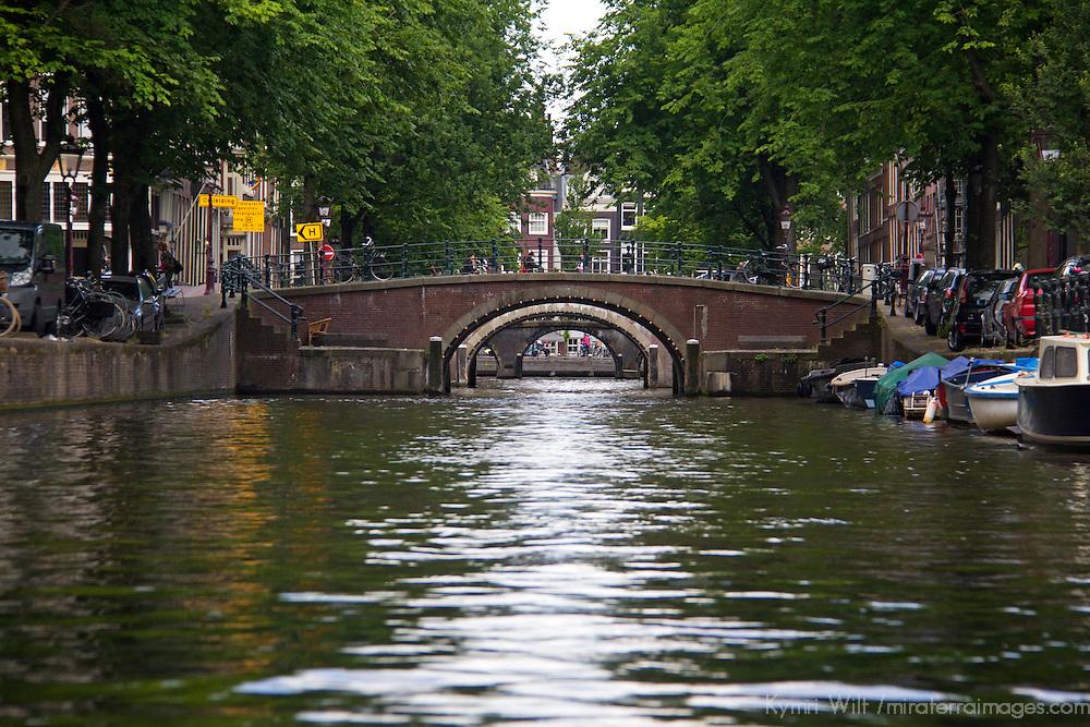 Europe, Netherlands, Amsterdam. Canal Bridge.