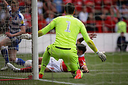 Nottingham Forest goalkeeper Costel Pantilimon (1) in prime position to keep this shot out during the EFL Sky Bet Championship match between Nottingham Forest and Reading at the City Ground, Nottingham, England on 11 August 2018.