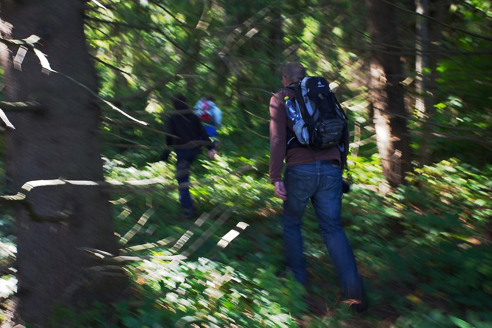 Hikers in Bieszczady National Park.  Bukowiec, Poland.