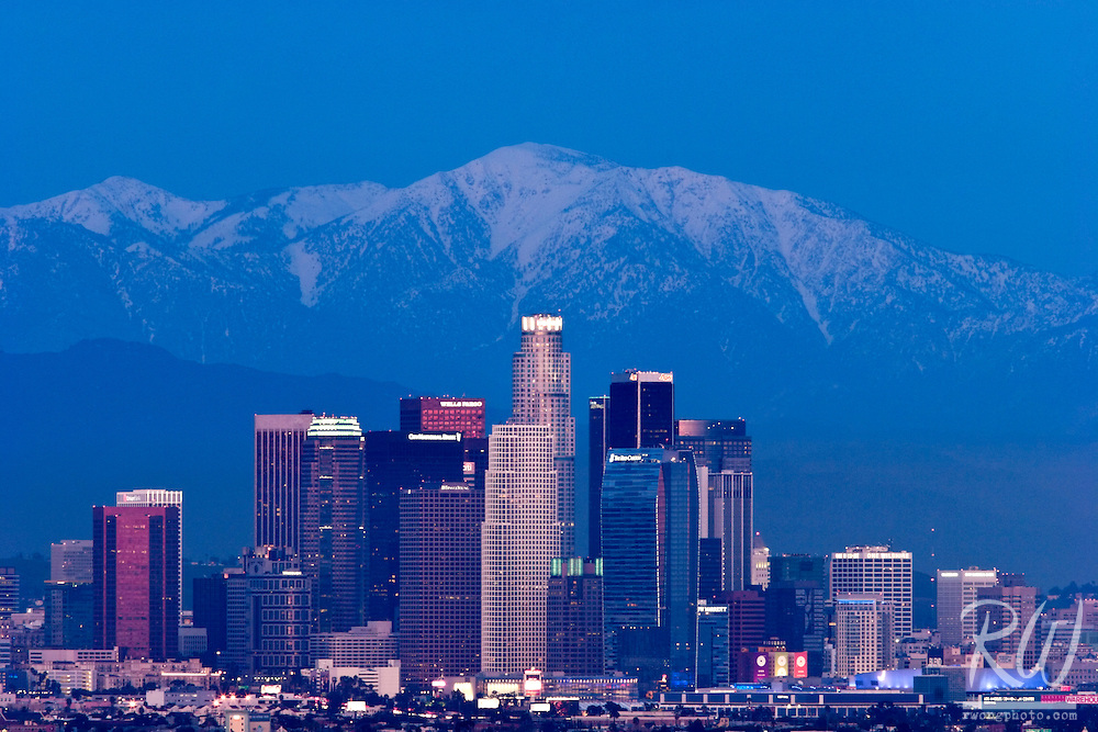 Downtown Los Angeles Skyline at Night with Mount Baldy in Background, Southern California