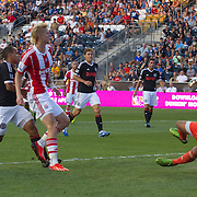 Stoke City F.C. Midfielder BREK SHEA (11) scores a goal in the 18th minute of a MLS regular season international friendly match against the Philadelphia Union assist by Stoke City F.C. Midfielder MICHAEL KIGHTLY (21) Tuesday, July. 30, 2013 at PPL Park in Chester PA.