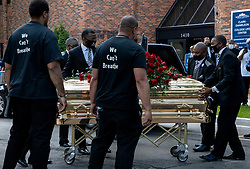 The casket of George Floyd is removed after a memorial service at North Central University in Minneapolis on Wenesday, June 4, 2020. Photo by Carlos Gonzalez/Minneapolis Star Tribune/TNS/ABACAPRESS.COM