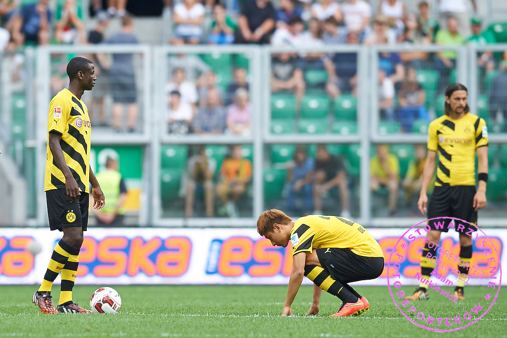 (L) Adrian Ramos of Dorussia Dortmund &amp; (R) Dong-Won Ji of Dorussia Dortmund before second half during international friendly soccer match between WKS Slask Wroclaw and BVB Borussia Dortmund on Municipal Stadium in Wroclaw, Poland.<br /> <br /> Poland, Wroclaw, August 6, 2014<br /> <br /> Picture also available in RAW (NEF) or TIFF format on special request.<br /> <br /> For editorial use only. Any commercial or promotional use requires permission.<br /> <br /> Mandatory credit:<br /> Photo by &copy; Adam Nurkiewicz / Mediasport