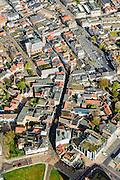 Nederland, Zeeland, Zeeuws-Vlaanderen, 19-10-2014; centrum Terneuzen, in het midden met bocht de Noordstraat.<br /> Downtown Terneuzen  with its mainstreet Noordstraat.<br /> luchtfoto (toeslag op standard tarieven);<br /> aerial photo (additional fee required);<br /> copyright foto/photo Siebe Swart