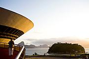 Niteroi_RJ, Brasil... Museu de Arte Contemporanea (MAC) de Niteroi. Localizado no Mirante da Boa Viagem, o MAC foi projeto pelo arquiteto brasileiro Oscar Niemeyer e inaugurado em 1996...Museu de Arte Contemporanea (MAC) in Niteroi. Located in Mirante da Boa Viagem, the MAC was designed by Brazilian architect Oscar Niemeyer and inaugurated in 1996. ..Foto: JOAO MARCOS ROSA / NITRO