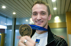 Saso Bertoncelj at arrival to Slovenia after he got a bronze medal  at European Championships in artistic gymnastics in Birmingham 2010, on April 26, 2010, at Airport Joze Pucnik, Brnik, Slovenia. (Photo by Vid Ponikvar / Sportida)