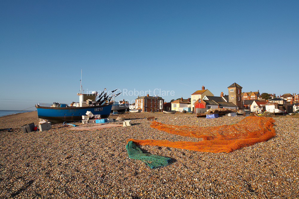 Great Britain England Suffolk Heritage Coastline Aldeburgh Beach Scene Fishing Boats and Nets