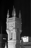 A night view of the Masonic Temple in downtown Philadelphia, Pennsylvania at the intersection of John F. Kennedy Blvd.  and N. Broad Street.