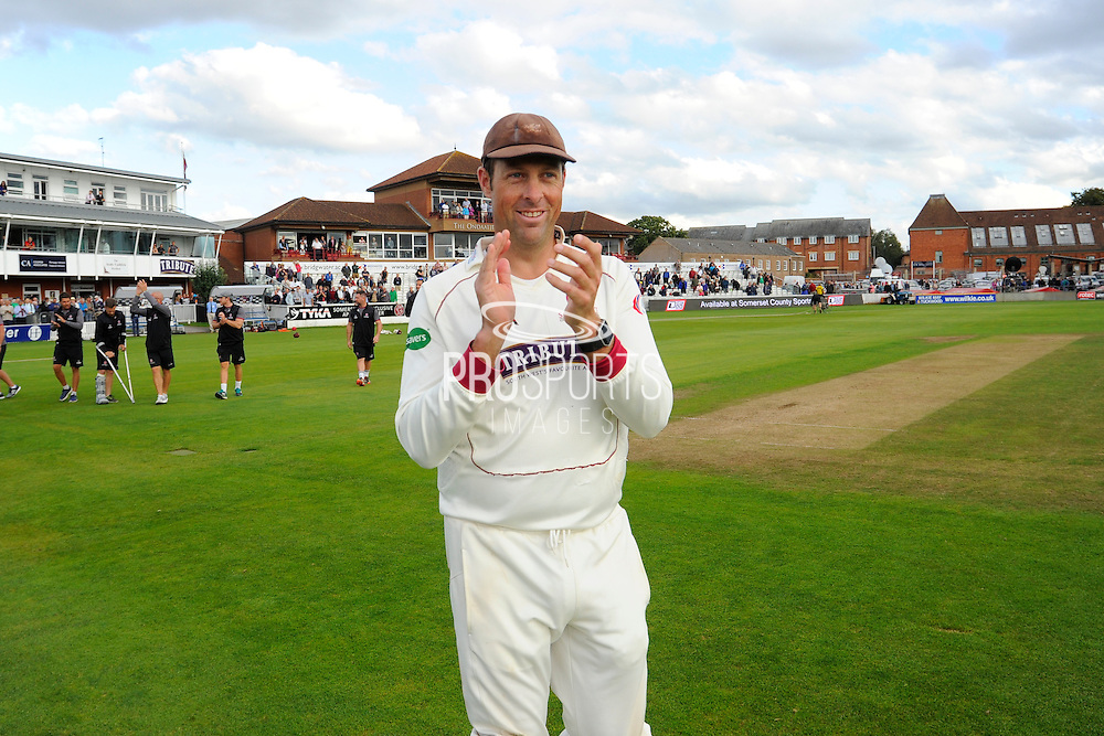 Marcus Trescothick of Somerset on the parade around the County Ground after the win over Nottinghamshire in the Specsavers County Champ Div 1 match between Somerset County Cricket Club and Nottinghamshire County Cricket Club at the Cooper Associates County Ground, Taunton, United Kingdom on 22 September 2016. Photo by Graham Hunt.