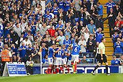 Portsmouth players celebrate their first half goal in front of their fans during the EFL Sky Bet League 2 match between Portsmouth and Barnet at Fratton Park, Portsmouth, England on 24 September 2016. Photo by Ian  Muir. during the EFL Sky Bet League 2 match between Portsmouth and Barnet at Fratton Park, Portsmouth, England on 24 September 2016. Photo by Ian  Muir.