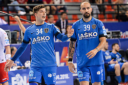 Domen Makuc of Celje PL and Igor Anic of Celje PL during handball match between Meshkov Brest and RK Celje Pivovarna Lasko in bronze medal match of SEHA- Gazprom League Final 4, on April 15, 2018 in Skopje, Macedonia. Photo by  Sportida
