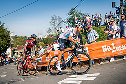 Group with KWIATKOWSKI Michal of Team Sky during 2nd lap on Mur de Huy at the 2018 La Flèche Wallonne race, Huy, Belgium, 18 April 2018, Photo by Thomas van Bracht / PelotonPhotos.com | All photos usage must carry mandatory copyright credit (Peloton Photos | Thomas van Bracht)