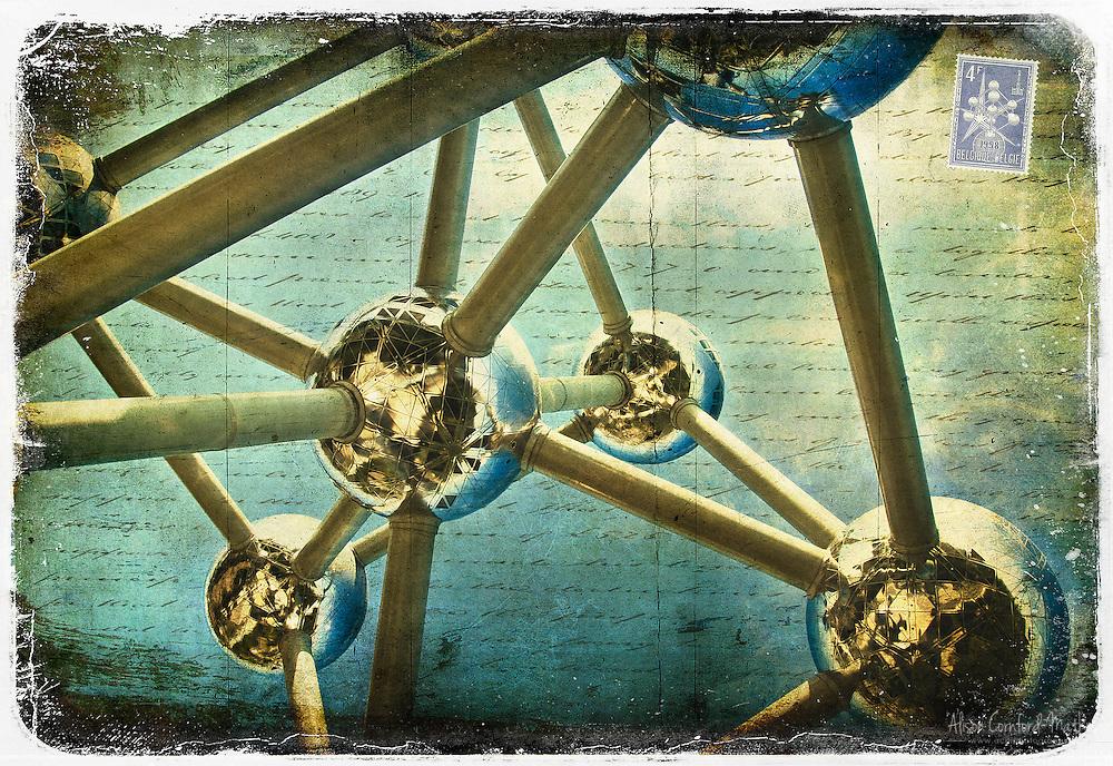 Atomium, Brussels, Belgium - Forgotten Postcard digital art collage
