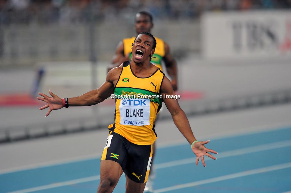 Yohan Blake (JAM),AUGUST 28, 2011 - Athletics :The 13th IAAF World Championships in Athletics - Daegu 2011, Men's 100m Final at the Daegu Stadium, Daegu, South Korea. (Photo by Jun Tsukida/AFLO SPORT) [0003]