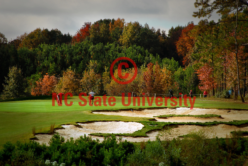 Golfer putt on the 3rd green of the Lonnie Poole Golf Course on Centennial Campus. PHOTO BY ROGER WINSTEAD