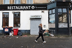 Disused restaurant in Govanhill district of Glasgow, Scotland, United Kingdom