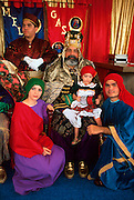 PUERTO RICO, FESTIVALS Three Kings Festival on Jan 6th in town of Juana Diaz near Ponce; people being photographed with the three kings