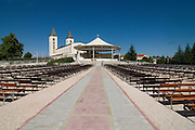St James Church with many benches outside. Medjugorje. Bosnien. Eastern Europe.