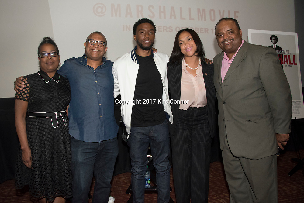 Robin Harrison, Director Reginald Hudlin, Actor Chadwick Boseman, Baltimore City State's Attorney Marilyn J. Mosby and Roland Martin pose for a photo during a Q&A session after a screening of Open Road Films' new movie MARSHALL at in Baltimore, Md. on July 25th, 2017. (Photo by Kris Connor/Open Road Films)