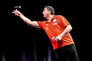 Mensur Suljovic during the 2016 Gibraltar Darts Trophy at the Victoria Stadium,  Gibraltar on 7 May 2016. Photo by Shane Healey.