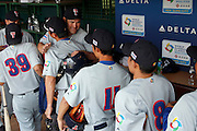 NEW TAIPEI CITY, TAIWAN - NOVEMBER 16:  Johnny Damon #18 of Team Thailand hugs teammates in the dugout after Game 3 of the 2013 World Baseball Classic Qualifier against Team New Zealand at Xinzhuang Stadium in New Taipei City, Taiwan on Friday, November 1, 2012.  Photo by Yuki Taguchi/WBCI/MLB Photos