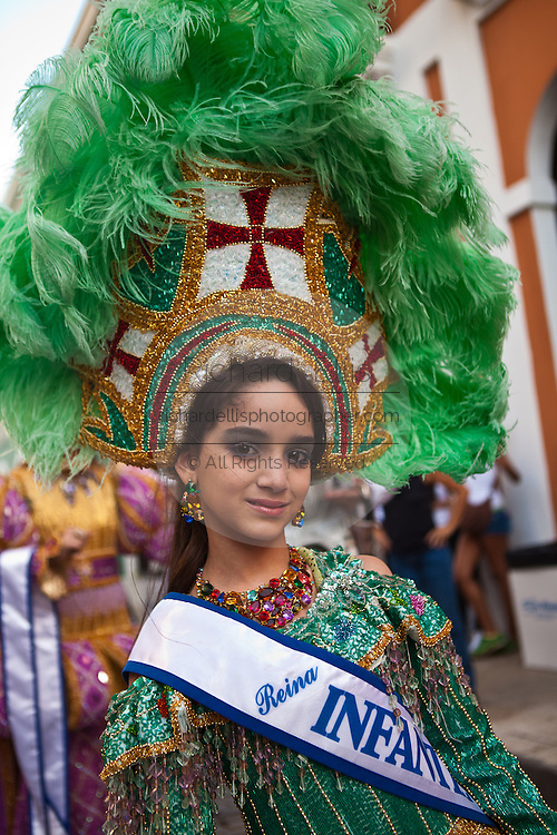 A young beauty queen at the Festival of San Sebastian in San Juan, Puerto Rico.