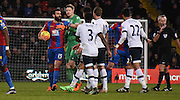 Mile Jedinak takes on the Spurs attack during the Barclays Premier League match between Crystal Palace and Tottenham Hotspur at Selhurst Park, London, England on 23 January 2016. Photo by Michael Hulf.