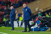 Scotland manager, Steve Clarke looks to the ground after seeing his team lose the opening goal during the UEFA European 2020 Group I qualifier match between Scotland and Kazakhstan at Hampden Park, Glasgow, United Kingdom on 19 November 2019.