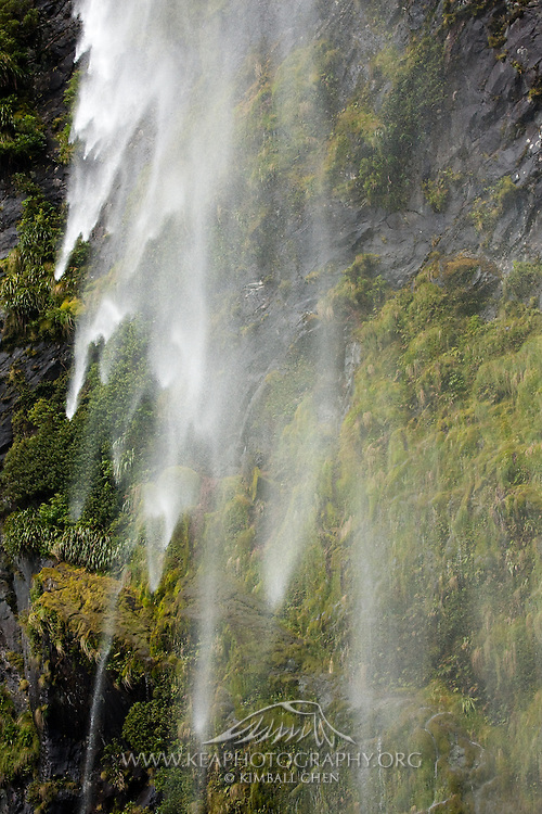 Milford Sound, waterfall, New Zealand