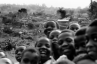School boys and shanty town. Kampala, Uganda