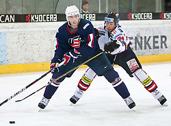 27.04.2011, TWK Arena, Innsbruck, AUT, IIHF WM 2011, Testspiel, Österreich vs USA, im Bild Jack Skille (USA, #20, Florida Panthers, NHL) vs Darcy Werenka (AUT, #24, Moser Medical Graz 99ers) during friendly ice hockey match between Austria and USA, in preparation of IIHF world Championship 2011 at TWK Arena in Innsbruck Austria on 27/4/2011. EXPA Pictures © 2011, PhotoCredit: EXPA/ J. Groder