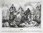 Franco-Prussian War 1870-1871: Allegory of the defeat destruction and bankruptcy of France, humiliated by  Prussia robbing her of her wealth. Lithograph.