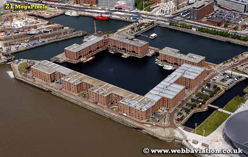 aerial photograph of Albert Dock  Liverpool Merseyside England  UK