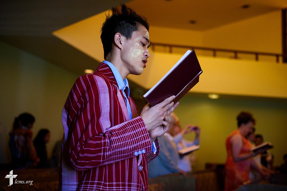 Poe Hsee worships at New Vision Lutheran Church, Spokane, Wash., on Sunday, June 18, 2017, in Spokane. LCMS Communications/Erik M. Lunsford