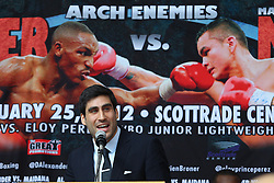 """Feb 23; St. Louis, MO, USA; HBO's Peter Nelson speaks during the final press conference for the February 25, 2012 fight card """"Arch Enemies"""".  Mandatory Credit: Ed Mulholland"""